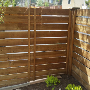fence staining in bend, or